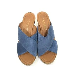 A. Giannetti Shoes - A. Giannetti Blue Suede Platform Wedge Sandals
